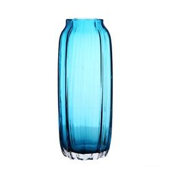 31cm Hand Blown Modern Ribbed Design Glass Vase Home