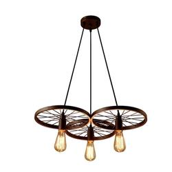 3 Arms E27 Hanging Metal Wheels Pendant Light