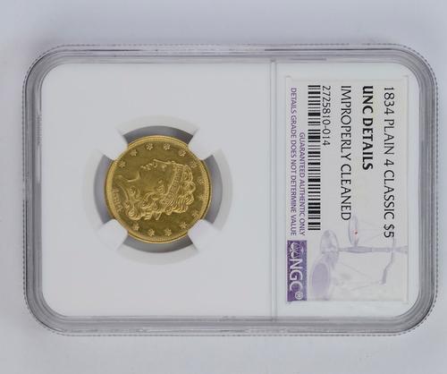 Unc Details 1834 $5.00 Classic Head Half Eagle - Plain 4 - NGC Graded