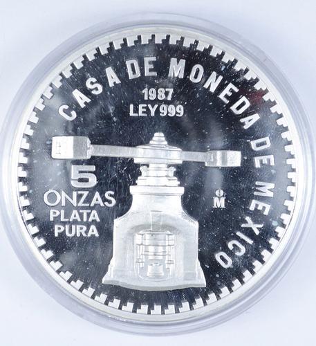 1987 Mexico 5 Onzas .999 Silver U.S. Constitution Commemorative