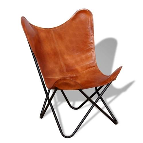 Butterfly Chair Real Leather Brown