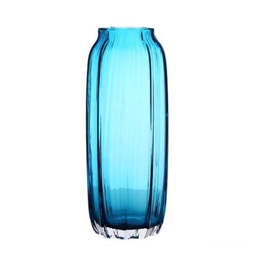 31cm Hand Blown Modern Ribbed Design Glass Vase Home