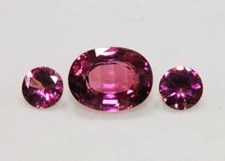 Intense Natural Pink Tourmaline - Set of 3