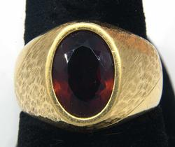 Gorgeous Synthetic Garnet Ring in Gold
