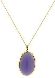 Oval Purple Jade Cab Pendant Necklace