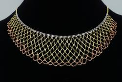 Tri-Color Collar Style Gold Necklace