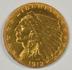 Sharp 1912 US $2.50 Indian Gold Piece