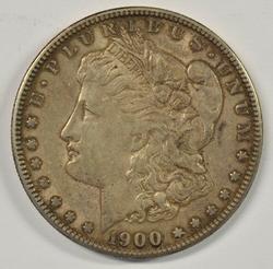 Upper end 1900-S Morgan Silver Dollar. Key date