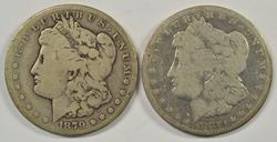 2 Rare Carson City Morgan Dollars from 1879 & 1880