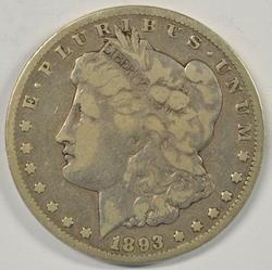 A Rare 1893-CC Morgan Silver Dollar. Nice circ