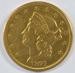 Scarce better date 1871-S Type 2 $20 Liberty Gold Piece
