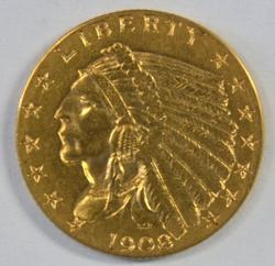 First year 1908 $2.50 Indian Gold Piece