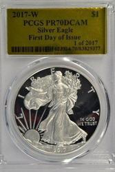 Perfect PCGS PR70DCAM 2017-W $1 PRF Silver Eagle