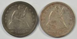 2 Sharp 1853 Arrows & Rays Liberty Seated Quarters