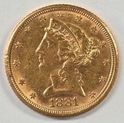 Bright-looking 1881 US $5 Liberty Gold Piece