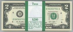 Gem CU Pack of 100 Series 2013 $2 Bills in Sequence (D)