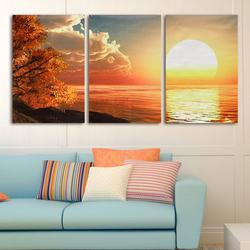 3 Cascade Day Sunset Scene Canvas Painting