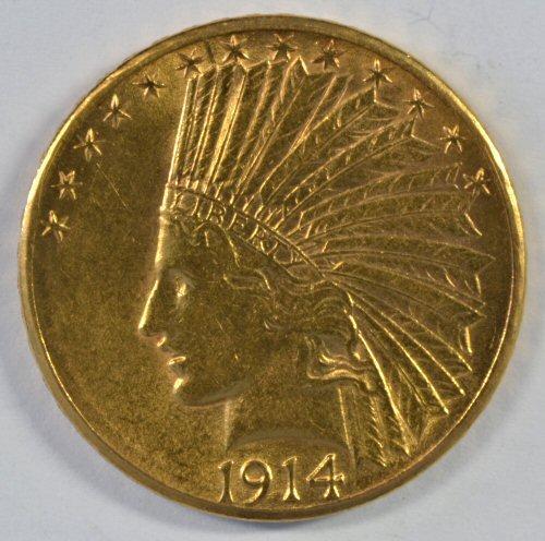 Beautiful 1914-D US $10 Indian Gold Piece