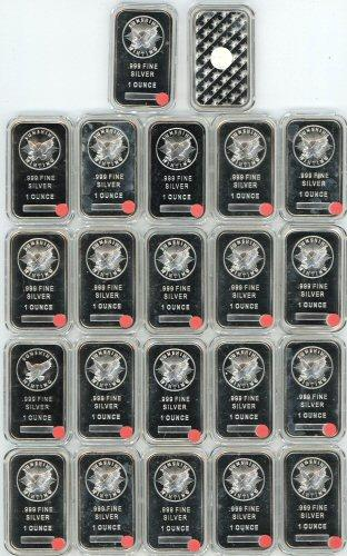 22 Great 1oz pure .999 silver bars in hard plastic