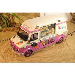 US Ice Cream Truck With Note Movement handmade Vintage Metal Car