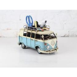 VW Circa 1966 Tin Model Camper Van With Pen Holder Surf Board Artwork
