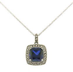 Beautiful Blue Sapphire w CZ Halo Pendant Necklace
