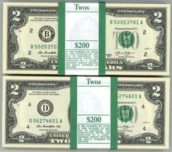 2 Gem Packs 100 Series 2013 $2 Bills. Sequential (B&D)