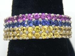 1.2CTW Pink, Blue, & yellow Sapphire Band