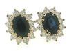 Elegant Oval Sapphire & Diamond Earrings