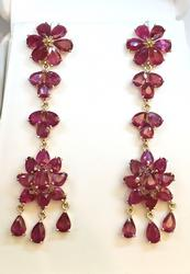 18.0 Carat Ruby Earrings in 14kt Gold