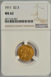 Very Choice BU 1911 $2.50 Indian Gold Piece. NGC MS62
