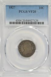 Scarce 1827 Large Size Capped Bust Dime. PCGS VF20