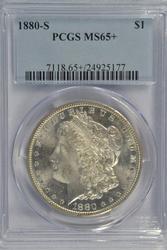 Superb Gem BU 1880-S Morgan Silver Dollar. PCGS MS65+