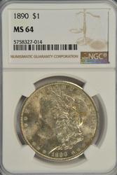 Nearly Gem BU 1890-P Morgan Silver Dollar. NGC MS64