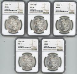 Wholesale dealer lot: 5 NGC MS64 1904-O Morgan Dollars