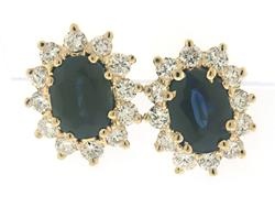 Elegant Oval Sapphire & Diamond Earrings
