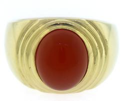 Gents Carnelion Gold Ring