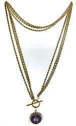 Powerful Amethyst w Diamond Halo Necklace