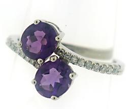 Beautiful Diamond and Amethyst Bypass Ring
