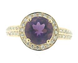 Pretty Amethyst w Diamond Halo Ring
