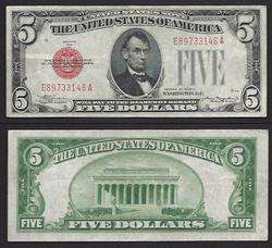 $5 1928-C Legal Tender Mule  Great embossing