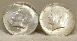 2 each 1964 Kennedy Half Dollars, 90% Silver near Unc