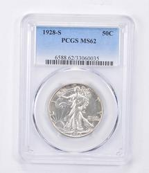 MS62 1928-S Wakling Liberty Half Dollar - Graded PCGS