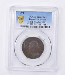 VF Detail 1794 Liberty Cap Large Cent - Tooled - Graded PCGS