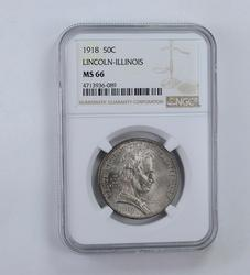 MS66 1918 Lincoln-Illinois Commemorative Half Dollar - Graded NGC