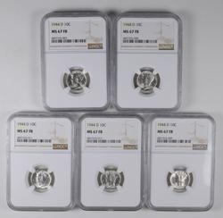 Lot (5) MS67 FB 1944-D Mercury Dimes - Graded NGC