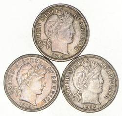 Lot (3) 1913 1914 & 1914-D Barber Dimes