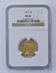 MS62 1913 $5.00 Indian Head Gold Half Eagle - Graded NGC
