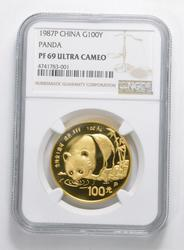 PF69 UCAM 1987-P China 100 Yuan 1 Oz Gold Panda - Graded NGC
