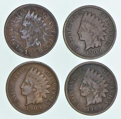 Lot (4) 1909 Indian Head Cents